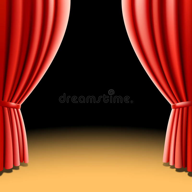 Red theater curtain on black background. Vector illustration of a red theater curtain on black background stock illustration