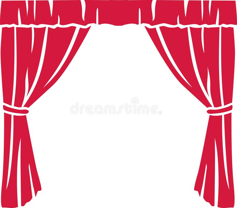 Red theater curtain. Stage art stock illustration