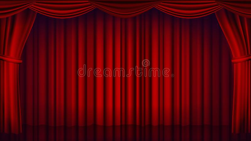 Red Theater Curtain Vector. Theater, Opera Or Cinema Closed Scene. Realistic Red Drapes Illustration vector illustration