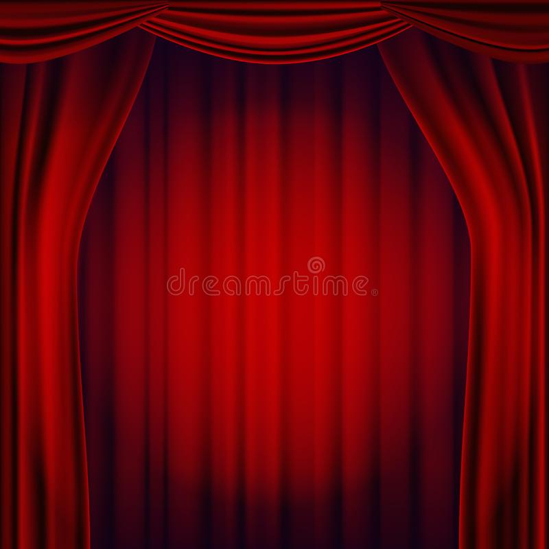 Red Theater Curtain Vector. Theater, Opera Or Cinema Scene. Realistic Illustration stock illustration