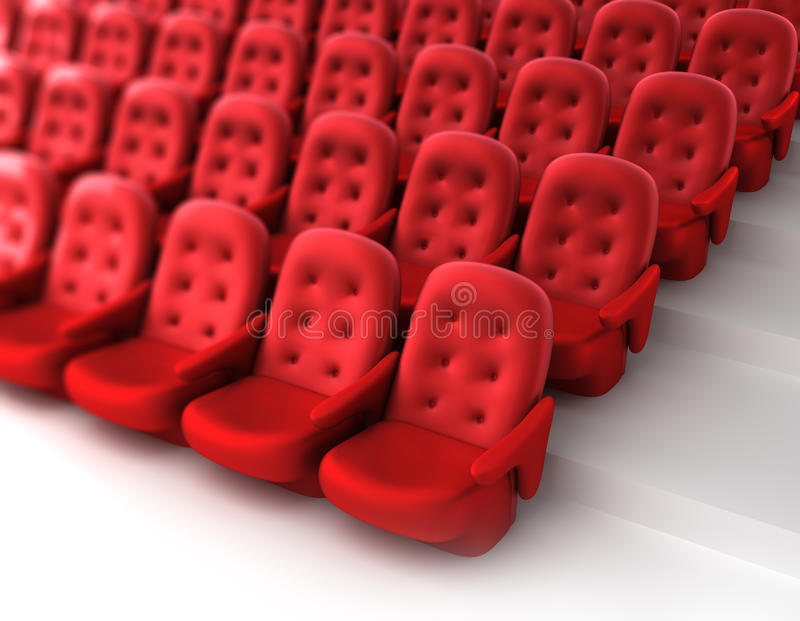 Red theater seats vector illustration