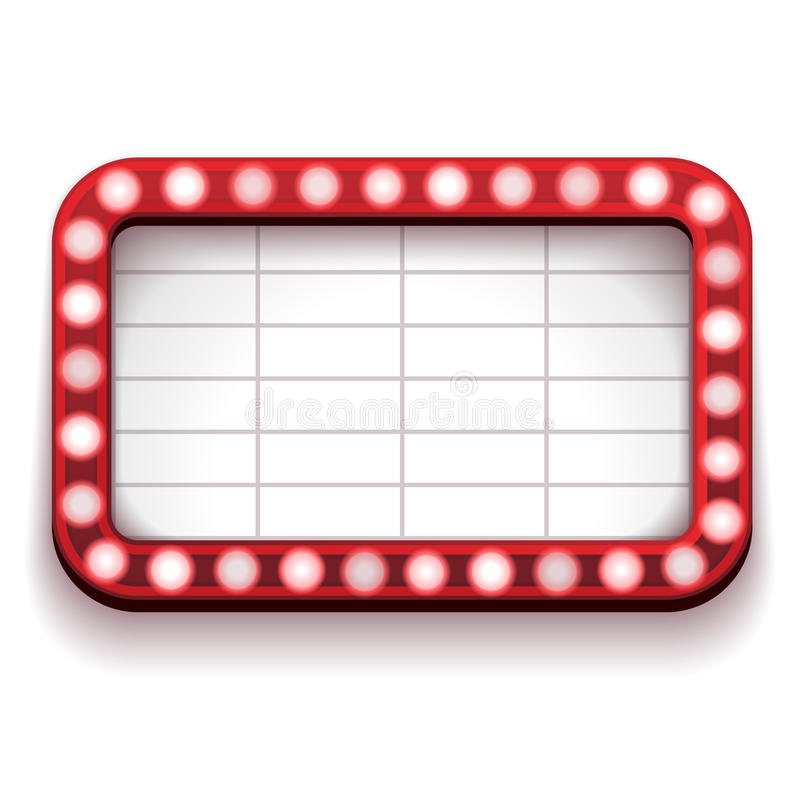 Red theater sign. A red theater sign with lights on the border stock illustration
