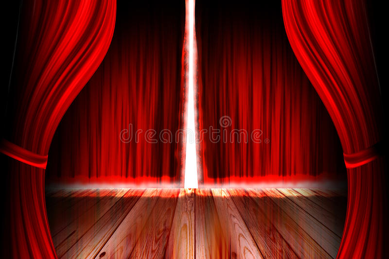 Red theater stage with curtain vector illustration