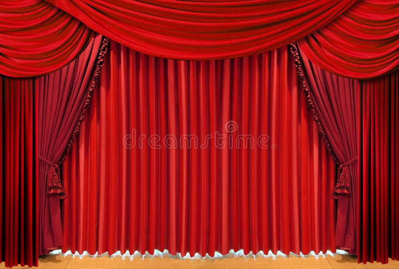 Red theater stage drapes royalty free stock photo