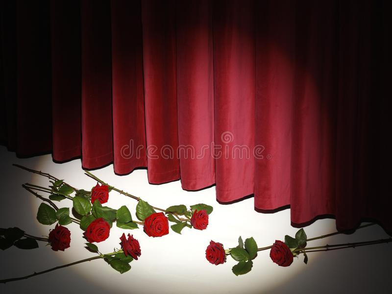 Red Theatre Curtain on stage with red roses. Red velvet Theatre Curtain with roses gala event on stage stock photography