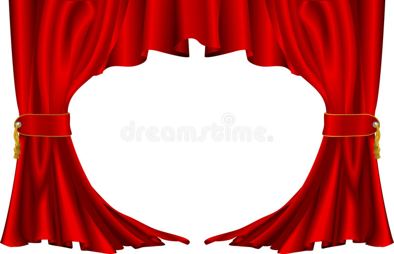 Red theatre style curtains stock illustration