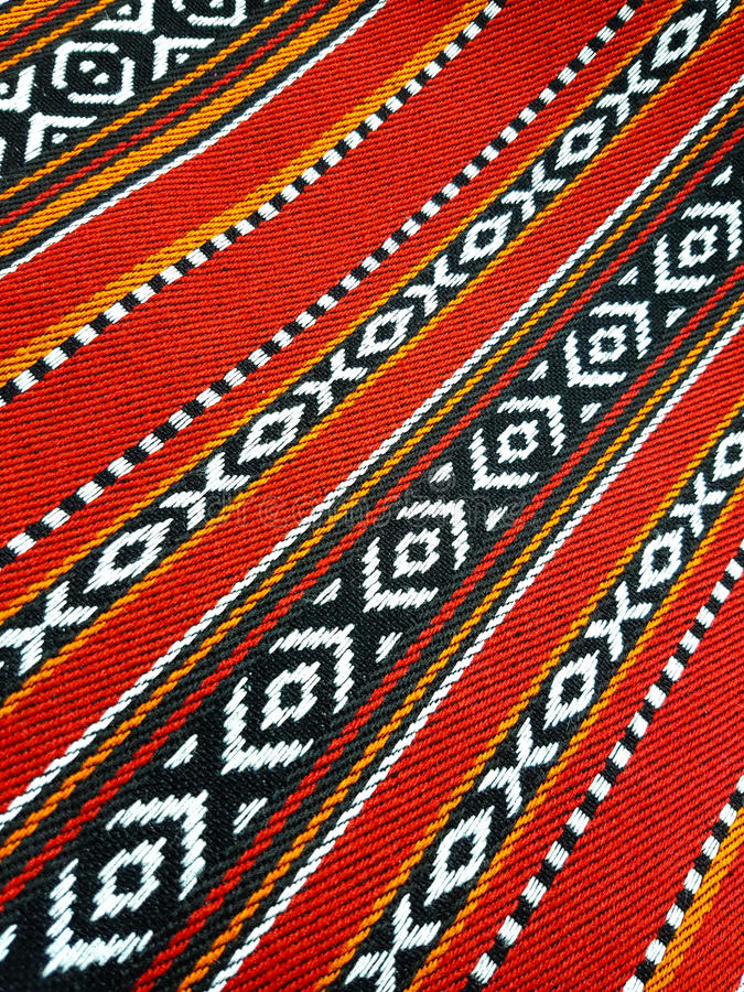 Red Theme Arabian Sadu Rug Weaving Patterns Closeup Stock