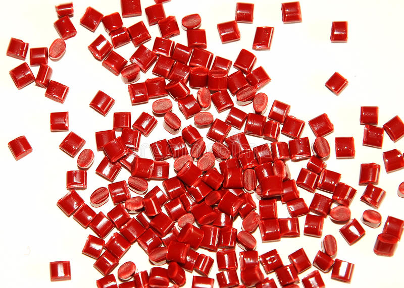 Red thermoplastic resin royalty free stock photo
