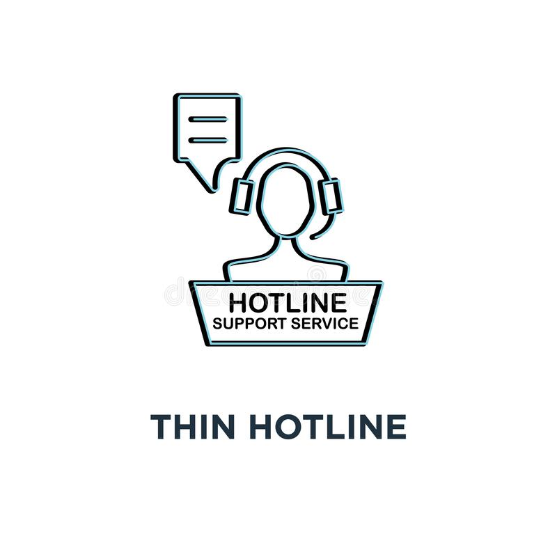 red thin hotline support service icon, symbol 24/7 help contact for client by adviser or counselor concept simple linear style vector illustration