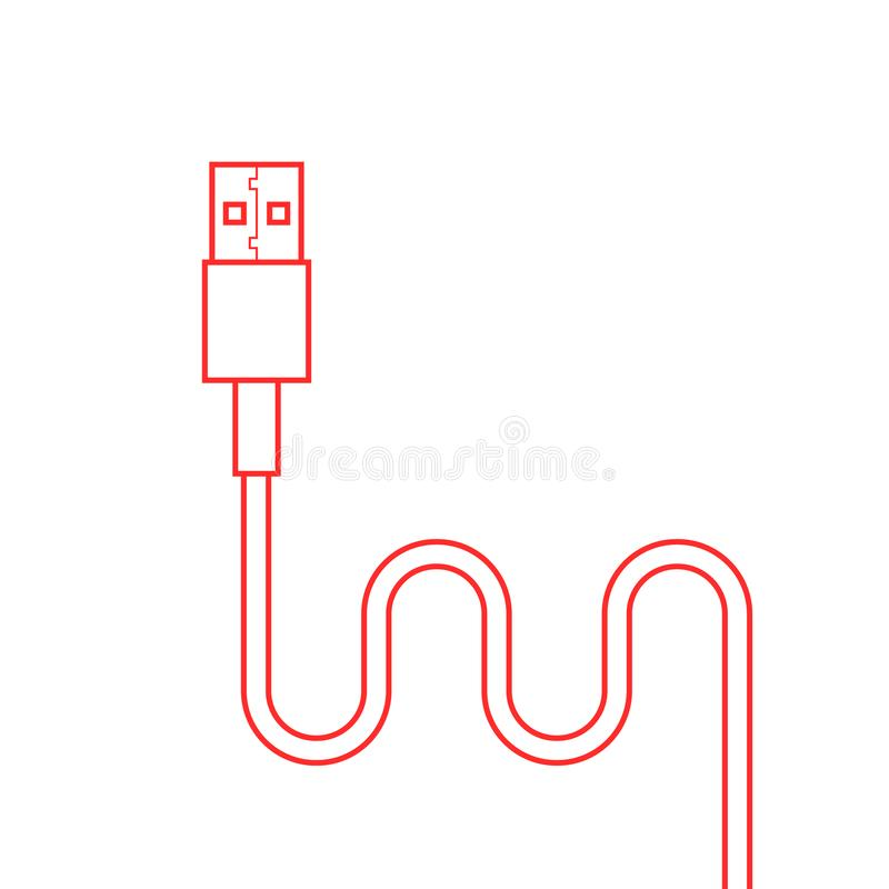 Red thin line usb cable. Concept of connection, transmit, communication, component, data transmission, universal serial bus. flat style trend modern logo vector illustration