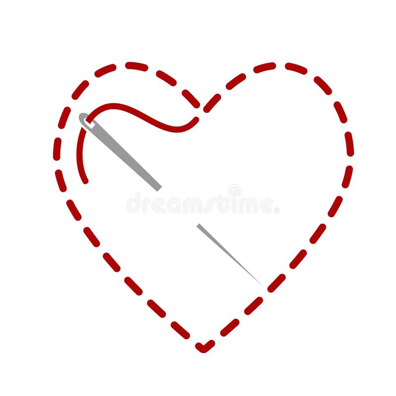 Free Red Thread With Needle Like Heard Symbol For Design On White, Stock Vector Illustration Royalty Free Stock Image - 167045736