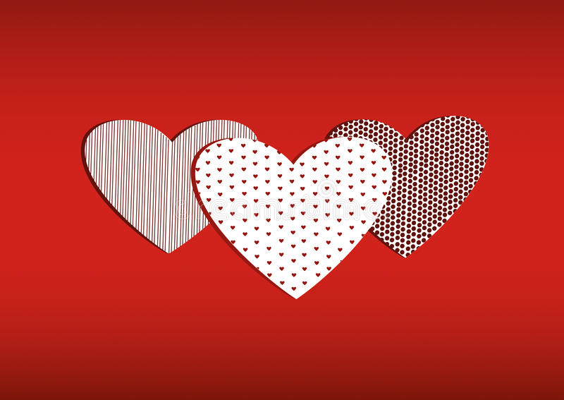 Red three hearts on with the image. Valentine`s Day. Vector royalty free illustration