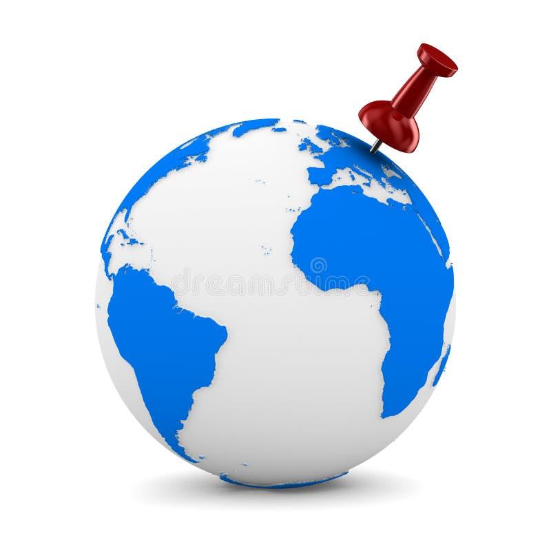 Red thumbtack on globe stock illustration