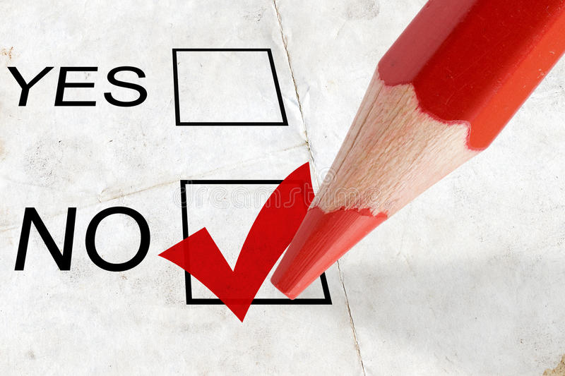 Red tick. Concept for voting. check-box no with red tick royalty free stock images