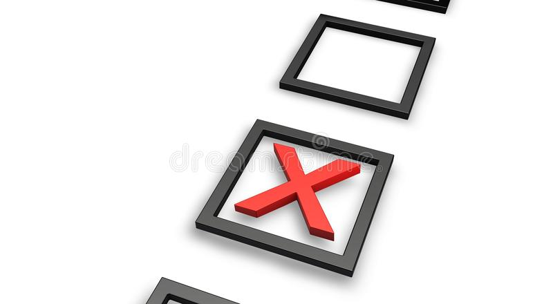 Red Tick. Right Or Wrong (answer) in check box royalty free illustration