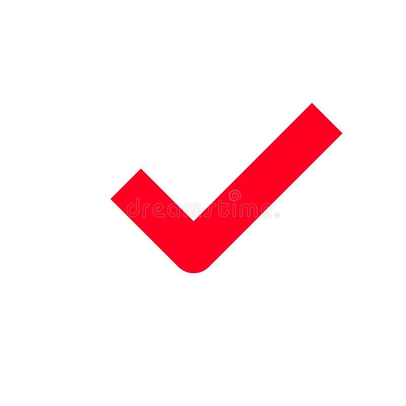 Red tick checkmark vector icon stock illustration