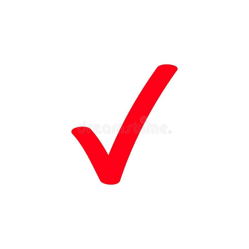 Red tick marker checkmark vector icon stock illustration