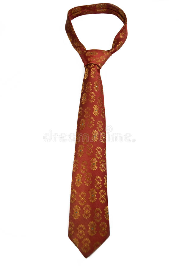 Red Tie With Golden Ornaments royalty free stock images