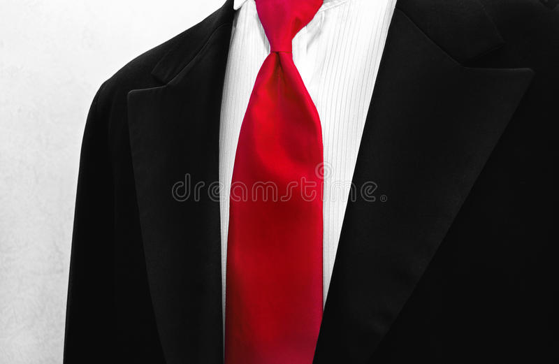 Download Red Tie with Tuxedo stock photo. Image of shirt, silk - 30419008