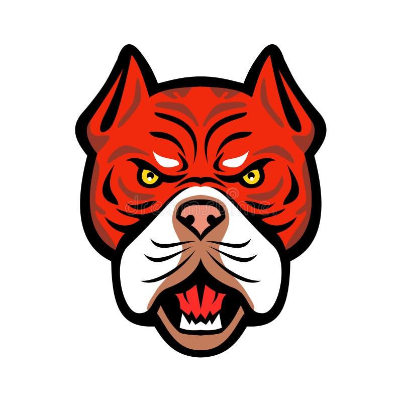 Red Tiger Bulldog Head Front Mascot royalty free illustration