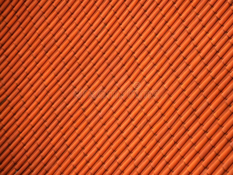 Red tile background. Red tile roof in Prague close up, background stock photo