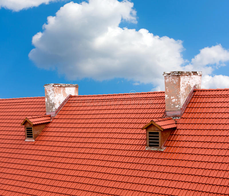 Red tile roof. Of old house royalty free stock image