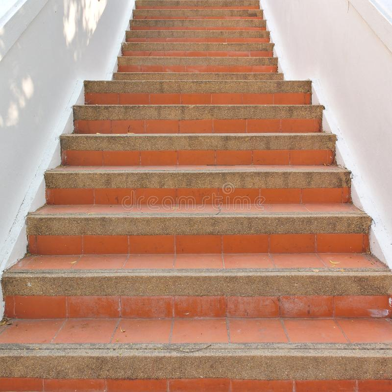 Red tile stairs. Thai temple red tile stairs royalty free stock images
