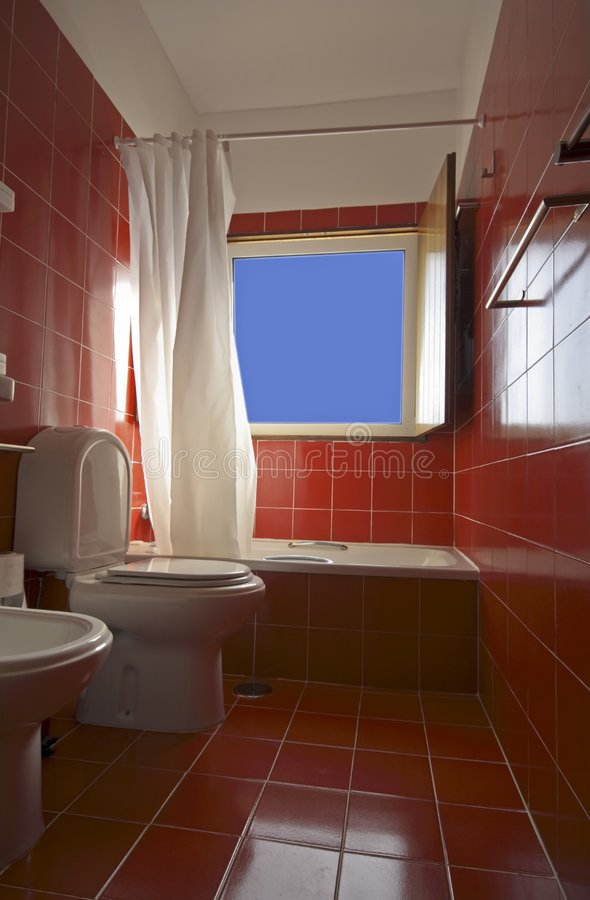 Red Tiled Bathroom Stock Photo