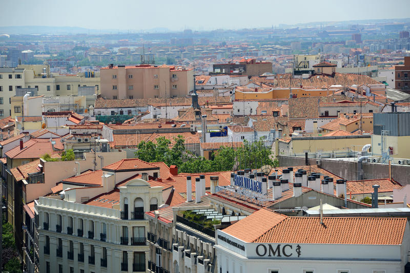 Red Tiled Roof at Madrid, Spain stock photography
