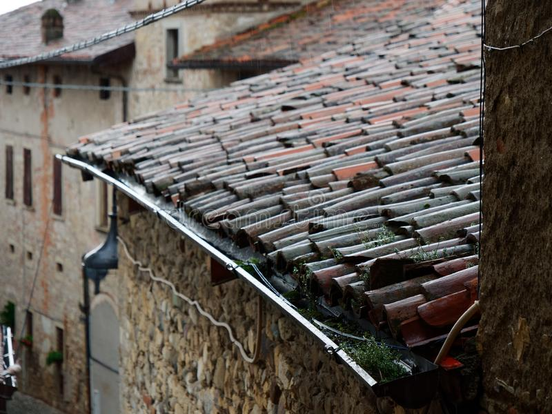 Red tiled roof of old italian houses. 2019 royalty free stock images