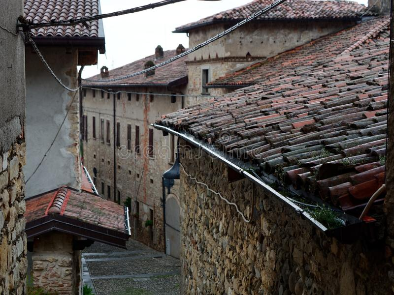 Red tiled roof of old italian houses. 2019 royalty free stock photography