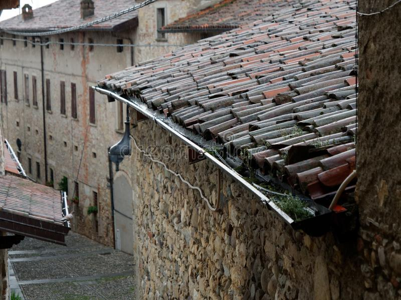 Red tiled roof of old italian houses. 2019 stock photos