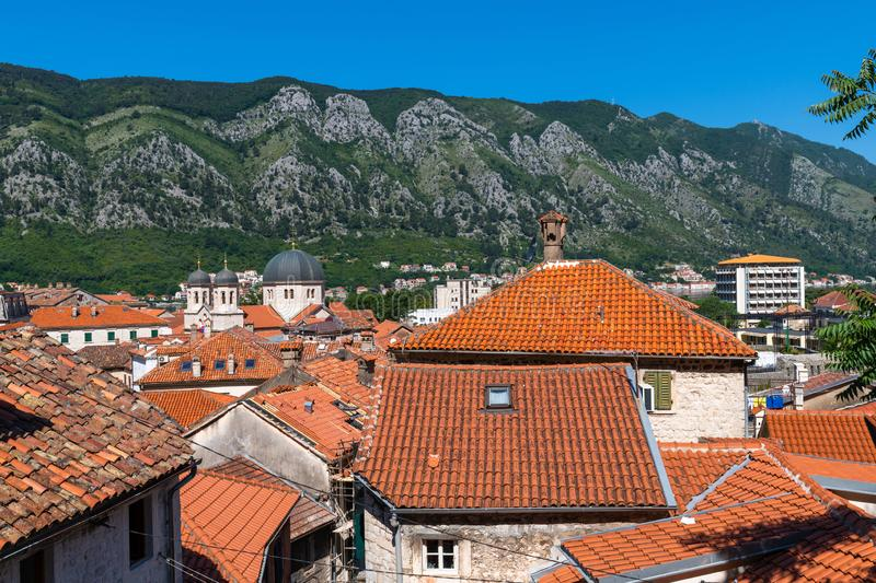 Red tiled roofs of old town houses in Kotor, Montenegro. Red tiled roofs of the old town houses in Kotor, Montenegro stock photography