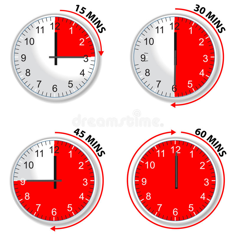 Red timer. 15 30 45 and 60 minutes isolated on white background royalty free illustration