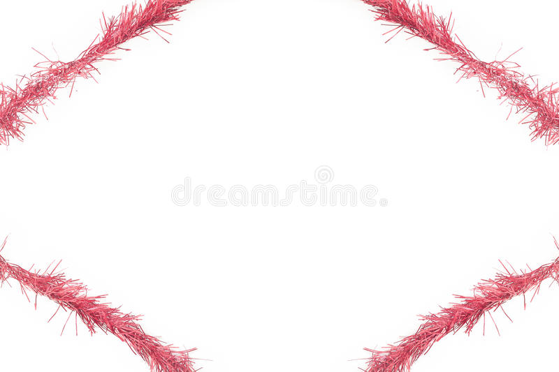 Red tinsel frame royalty free stock photo