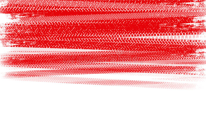 Red tire tracks. Red tire marks on a white background stock photos