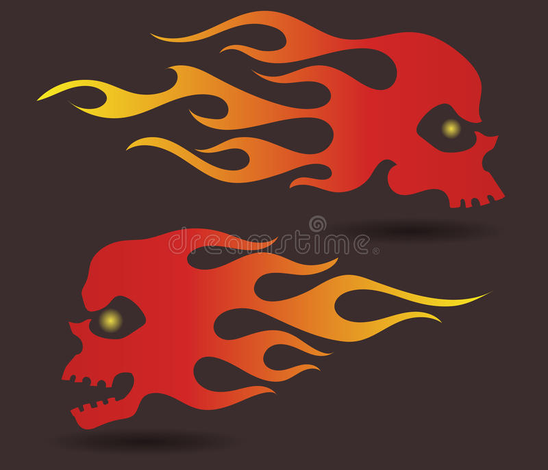 Red to yellow gradiently colored silhouettes of flaming skulls royalty free illustration