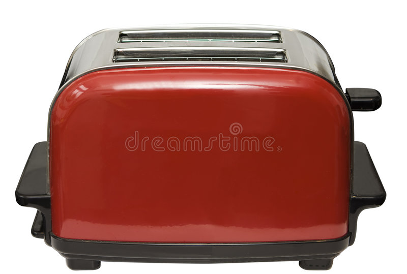 Red Toaster. Isolated on white with clipping path stock photo