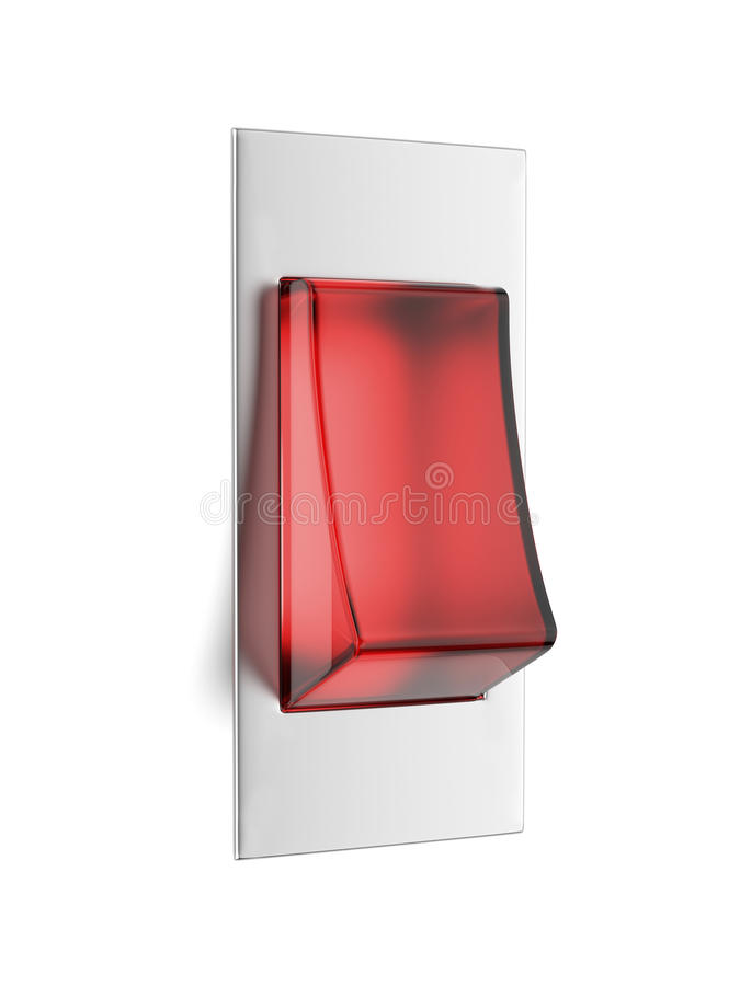 Red toggle. Isolated on white background. 3d render stock illustration
