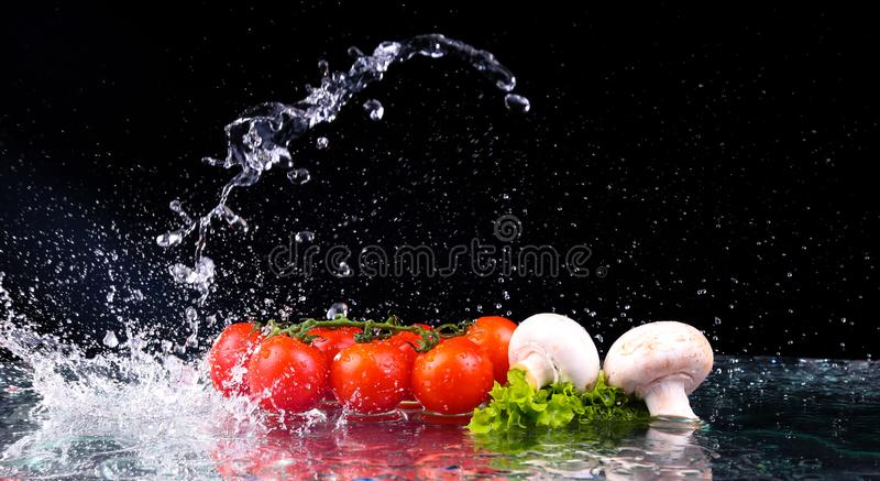 Red tomato cherry, mushrooms and green fresh salad with water drop splash stock photo