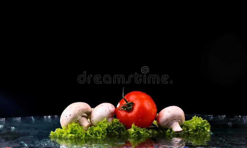 Red tomato cherry, mushrooms and green fresh salad with water drop splash stock photos