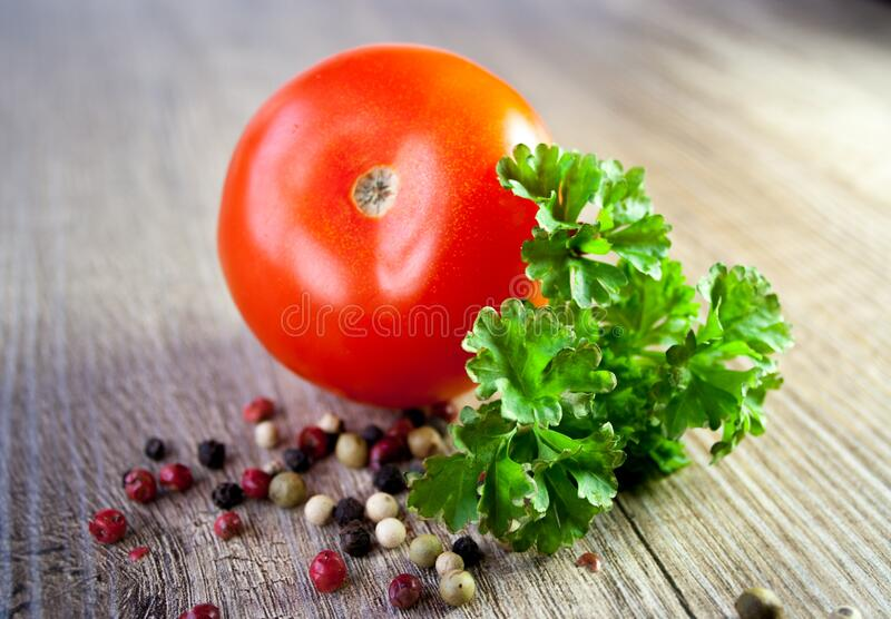 Red Tomato on Gray Surface stock image