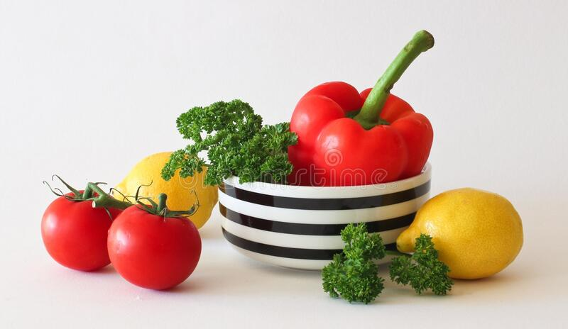 Red Tomato Green Broccoli Red Bell Pepper And Yellow Lime Free Public Domain Cc0 Image