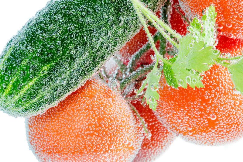 Red tomato and green cucumber royalty free stock photos