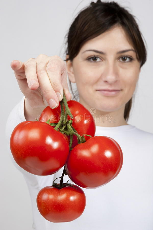 Free Red Tomato In Woman Hands Royalty Free Stock Photography - 19126657