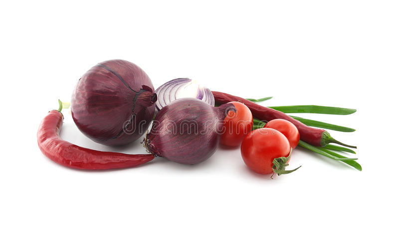 Red tomato, onion and chili pepper. Vegetables for mexican food stock photography