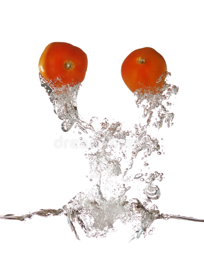 Red Tomato Splash Out stock images
