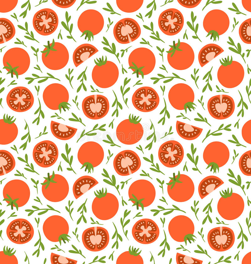 Red tomatoes pattern vector illustration