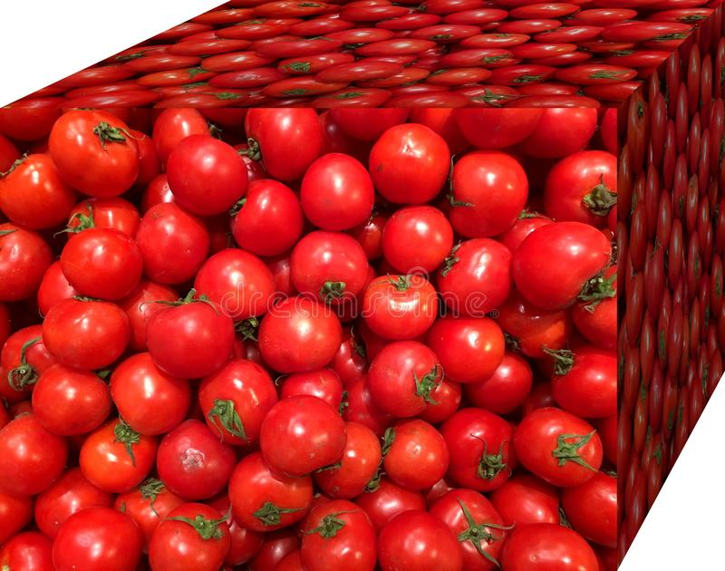 Red tomatoes. For sale in the market. Natural fruits, natural vitamins. Red tomatoes.  For sale in the market. Natural fruits, natural vitamins. Cubic form. 3D royalty free stock photo