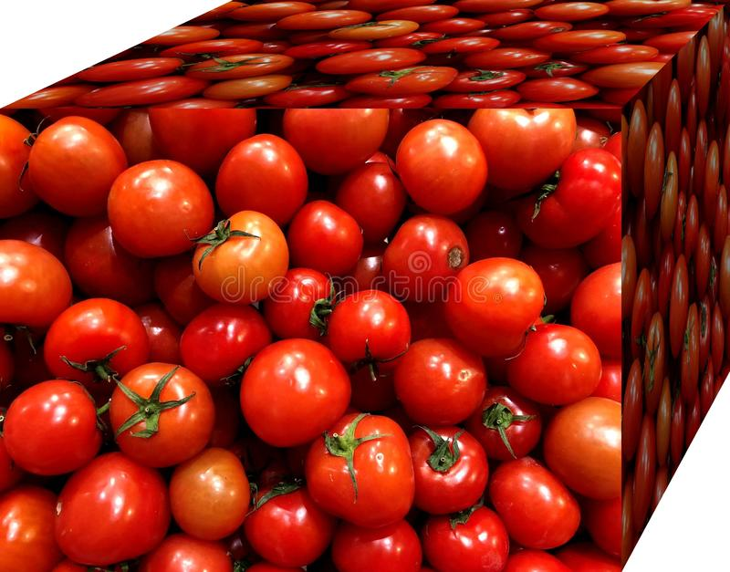 Red tomatoes. For sale in the market. Natural fruits, natural vitamins. Red tomatoes.  For sale in the market. Natural fruits, natural vitamins. Cubic form. 3D stock photography